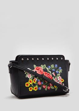 Floral Embroidered Stud Tote Bag