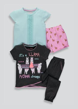 Girls 2 Pack Llama Pyjamas (4-13yrs)