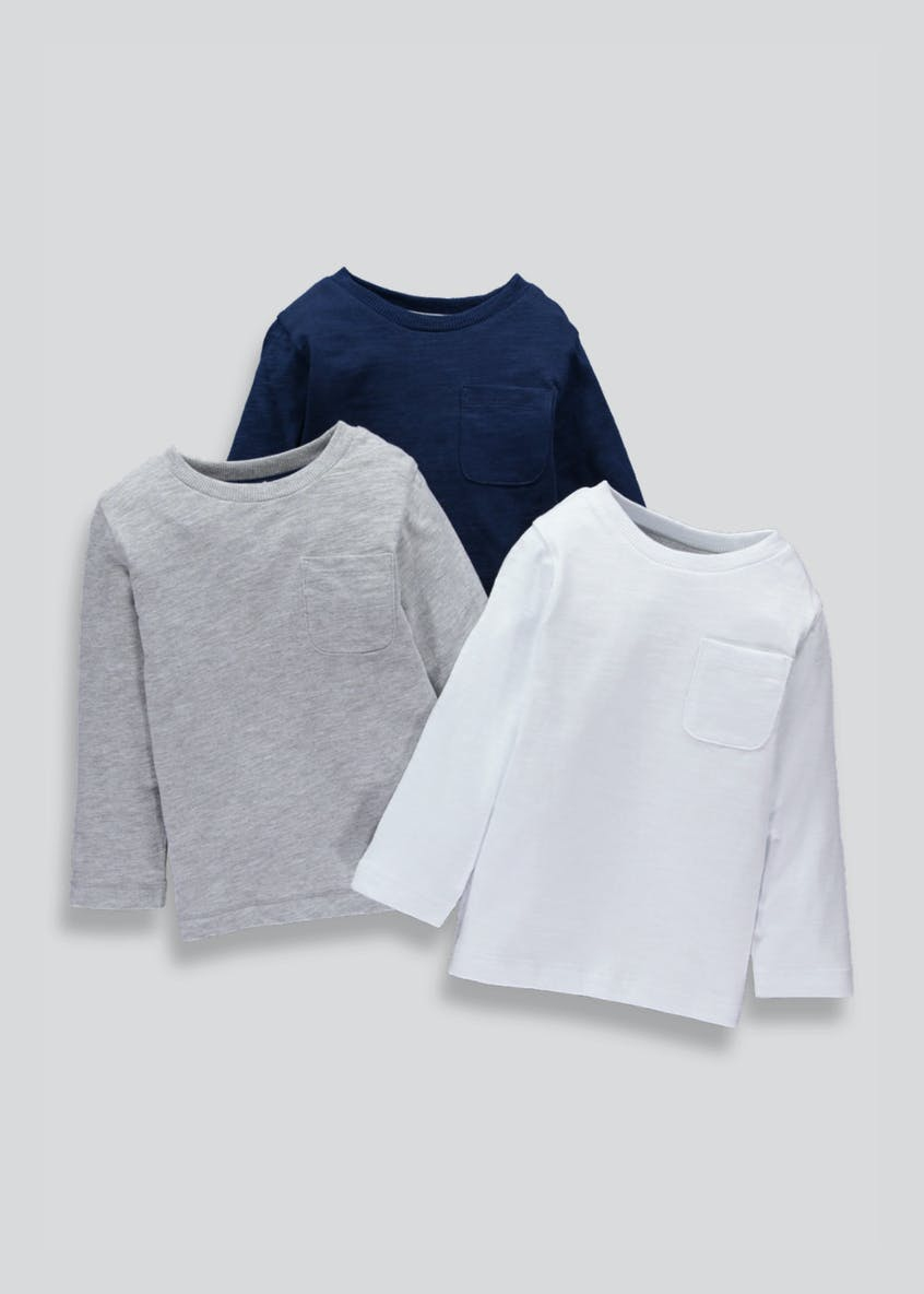 Boys 3 Pack Long Sleeve T-Shirts (9mths-5yrs)