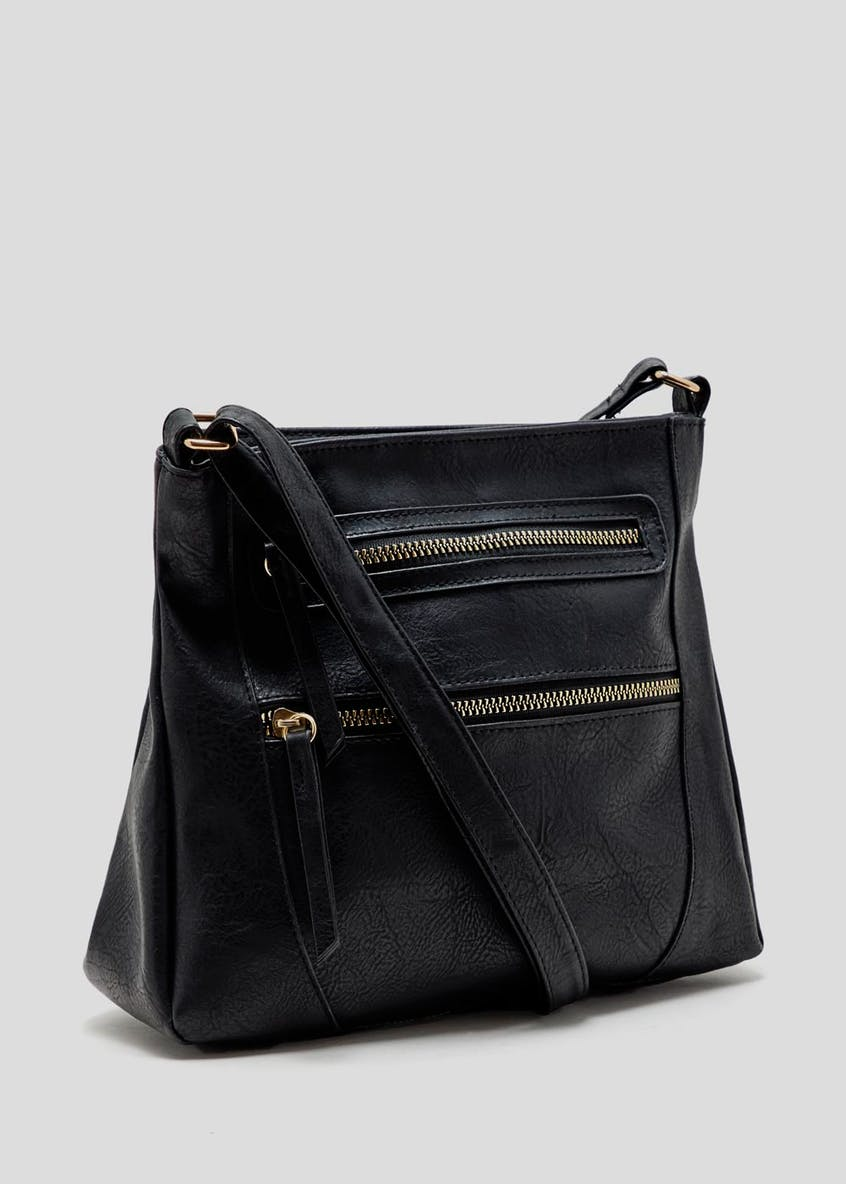 Double Zip Front Cross-Body Bag