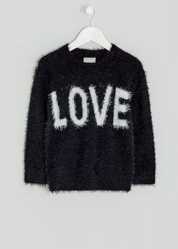 Girls Love Slogan Eyelash Jumper (4-13yrs)