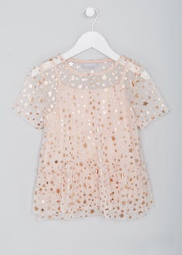 Girls Star Print Mesh Top (4-13yrs)