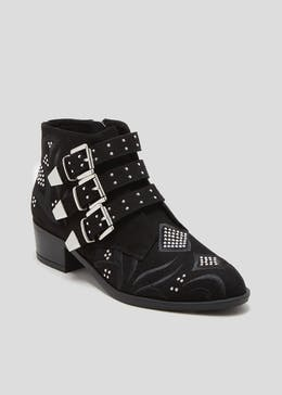 Pin Stud Buckle Ankle Boots