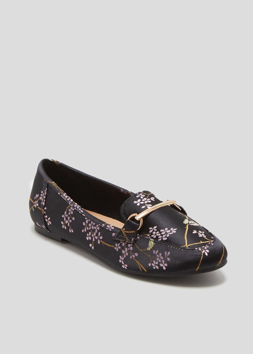 Floral Metal Bar Loafers