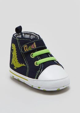 Boys Soft Sole Dinosaur Hi Tops (Newborn-18mths)