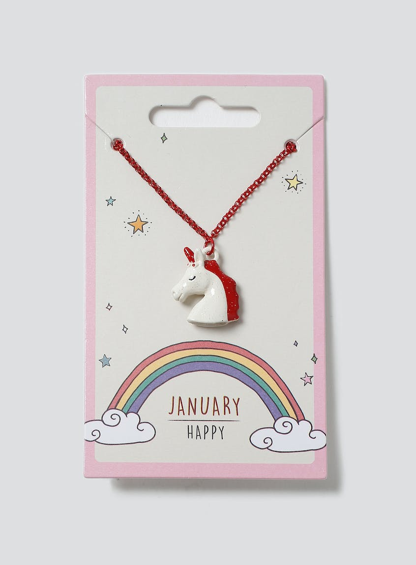 Unicorn Birthstone Necklace January