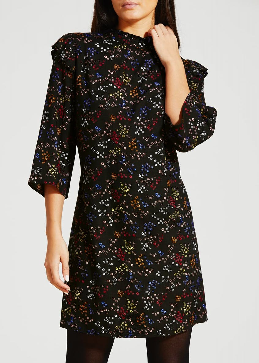 Floral High Neck Frill Sleeve Dress