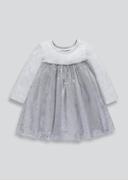 Girls Jersey & Mesh Dress (3mths-6yrs)