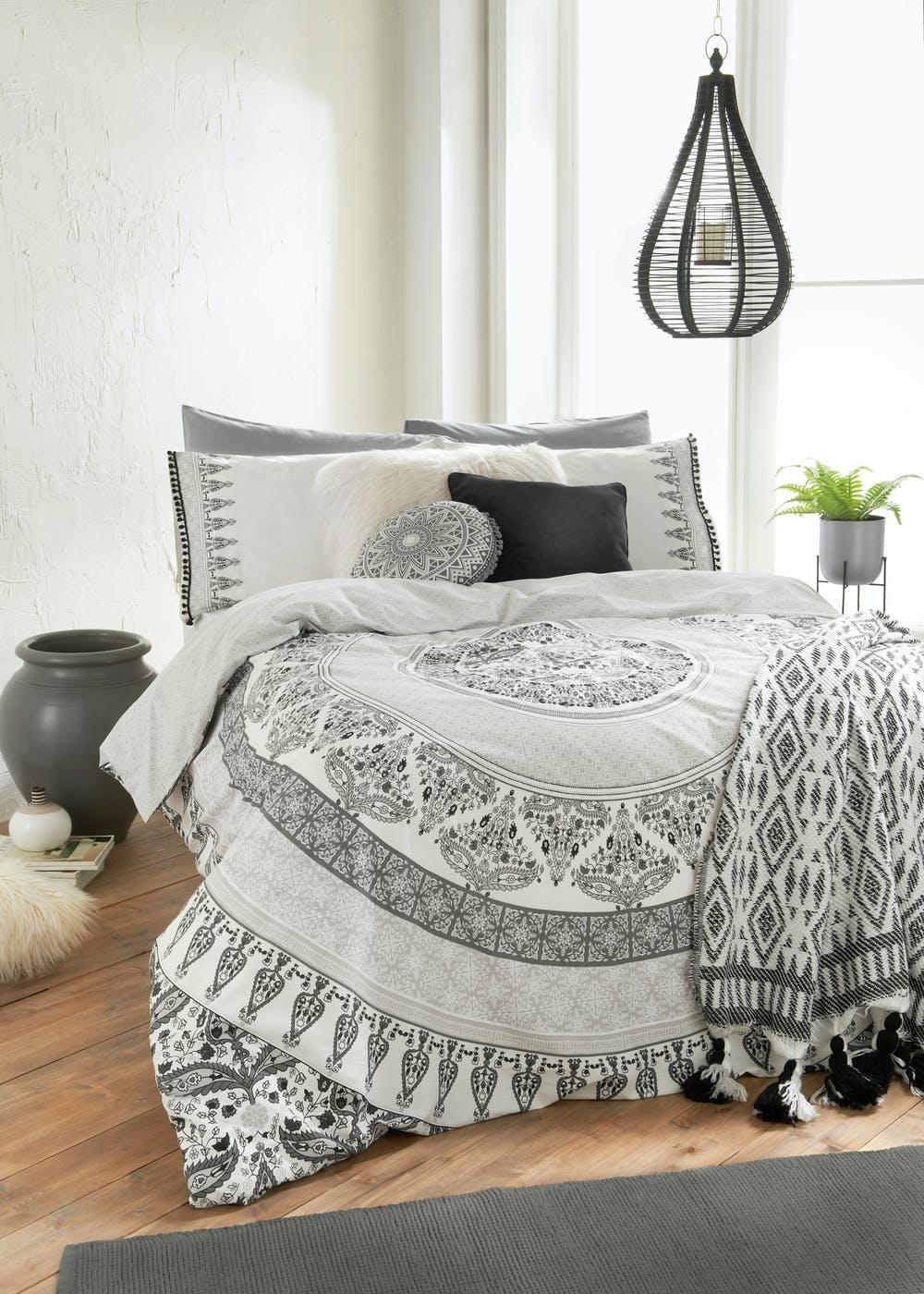 100 Cotton Mandala Duvet Cover Grey Matalan