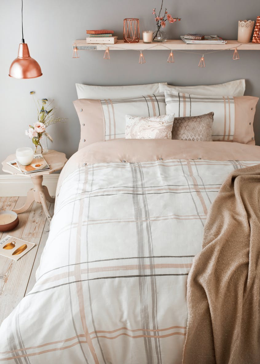 100% Cotton Sateen Check Duvet Cover (180 Thread Count)