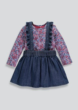 Girls Denim Pinafore Set (3mths-6yrs)