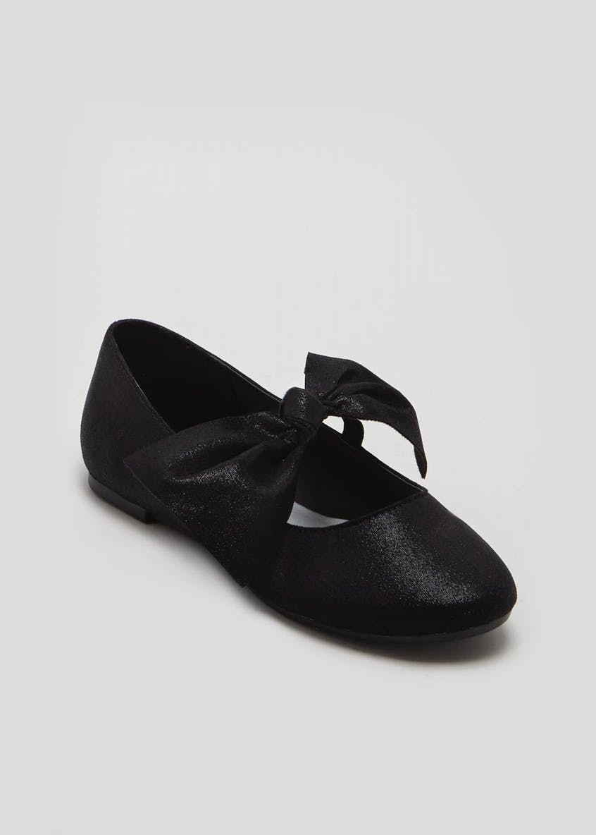 Girls Knotted Bow Ballet Shoes (Younger 10-Older 5)