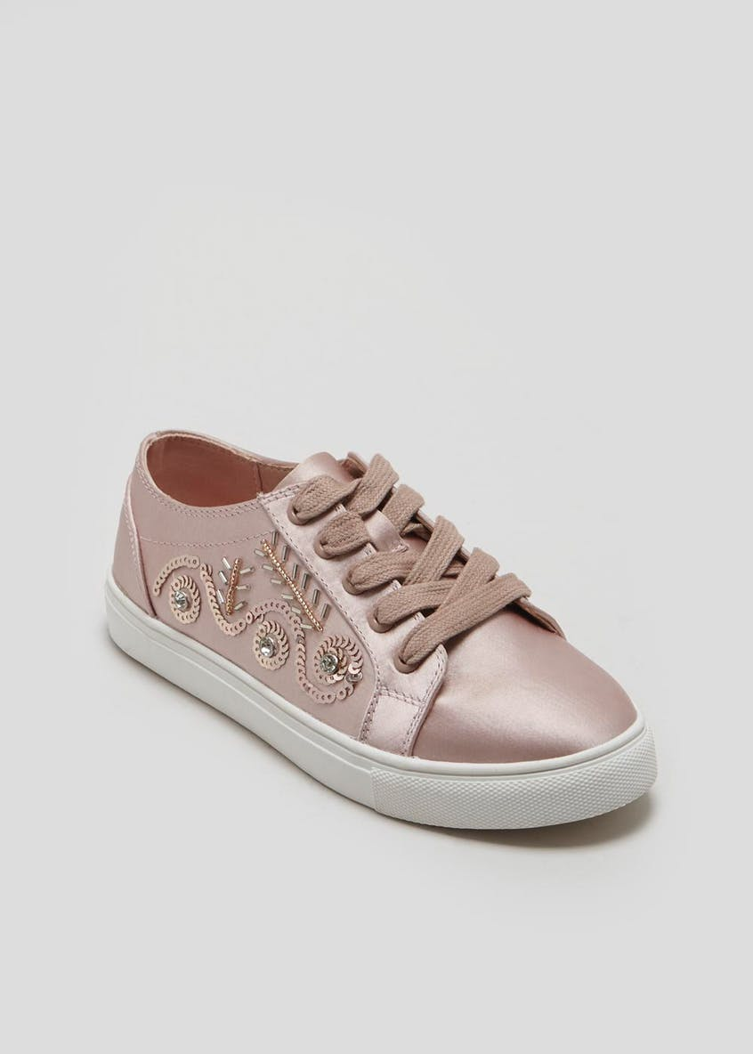 Girls Sequin Lace Up Trainers (Younger 10-Older 5)