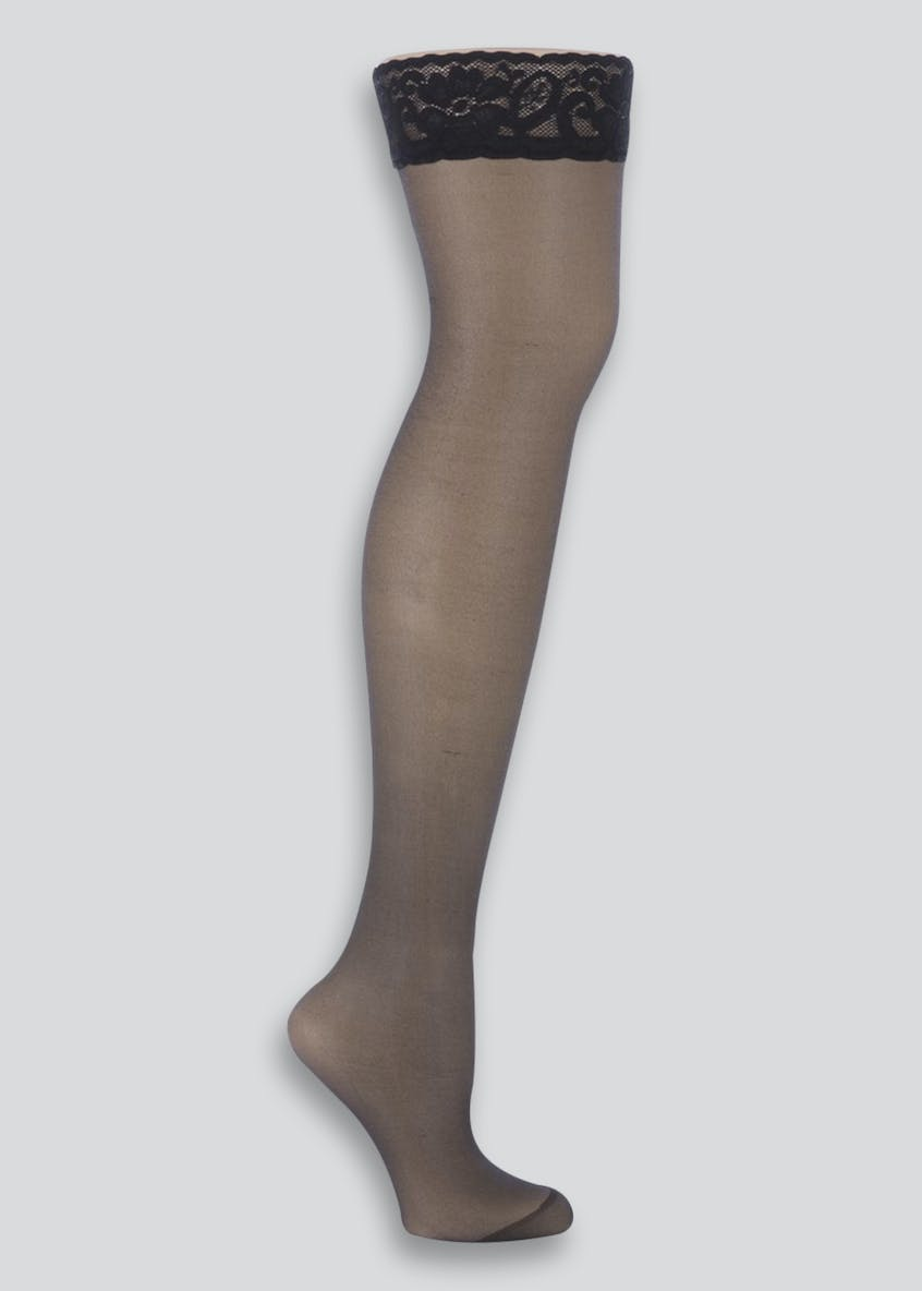 1 Pair 10 Denier Gloss Lace Hold-Ups