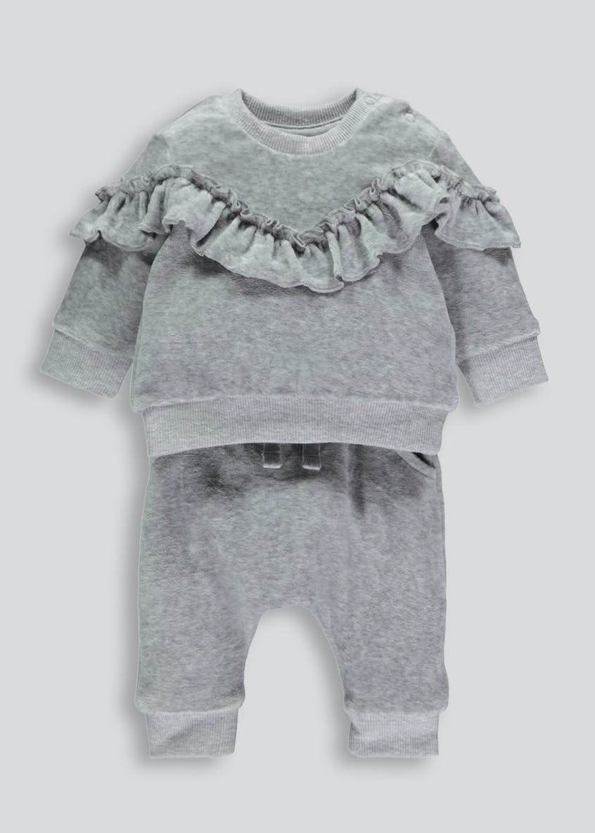 Girls Velour Frill 2 Piece Set (Tiny Baby-18mths)