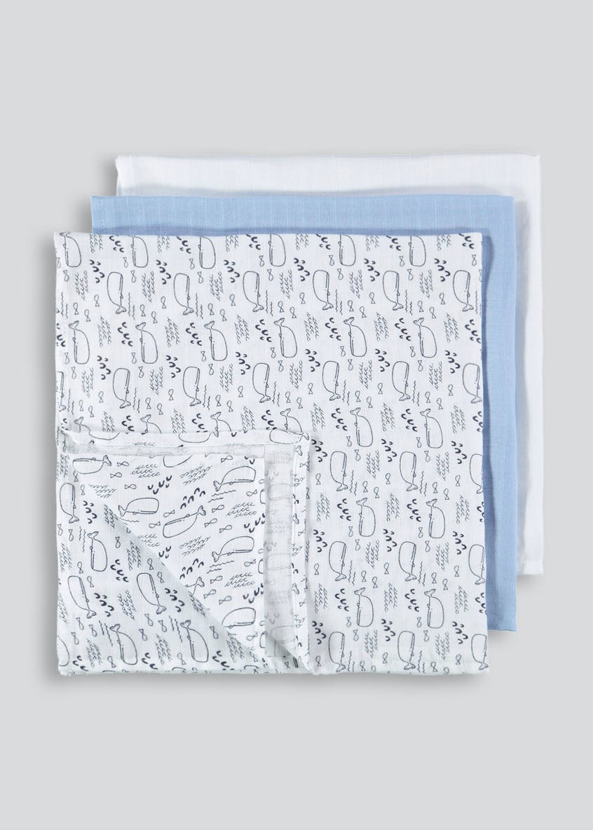 3 Pack Whale Muslin Squares