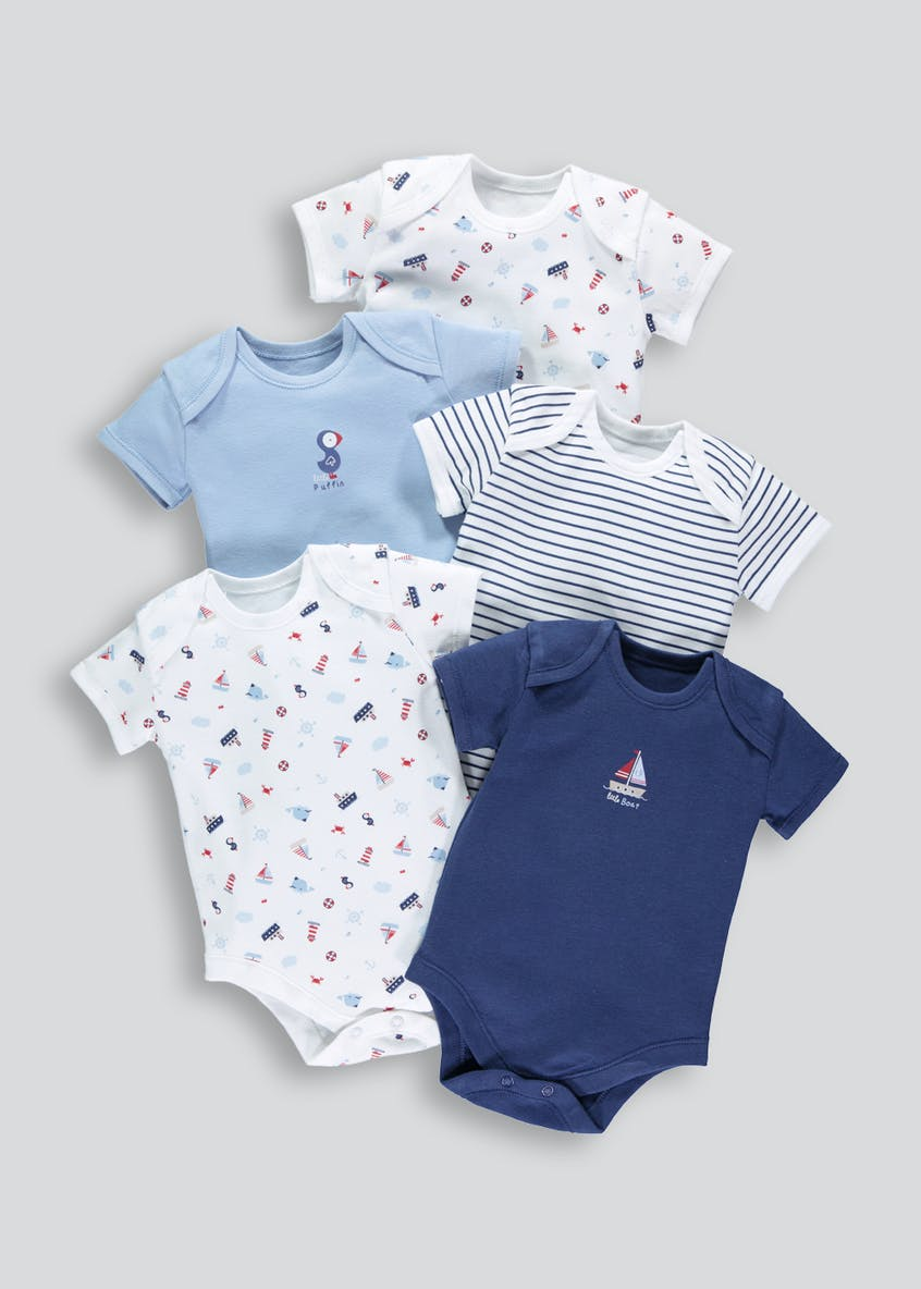 Boys 5 Pack Nautical Bodysuits (Tiny Baby-23mths)