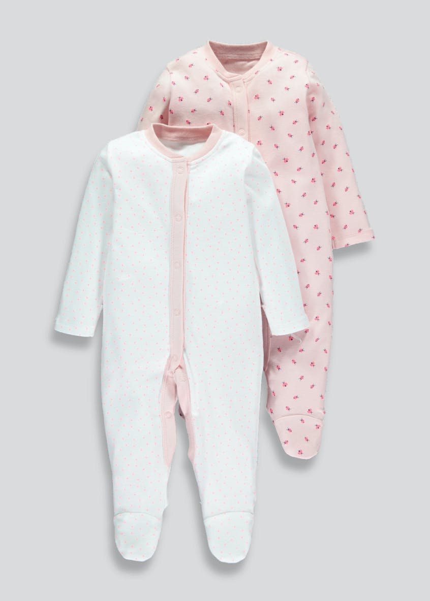 Girls 2 Pack Ladybird Sleepsuits (Tiny Baby-18mths)