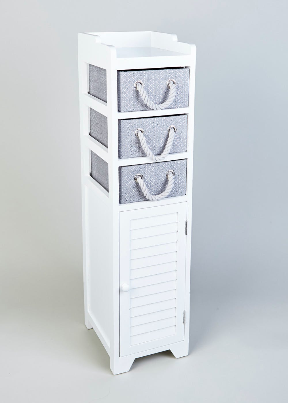 Wooden Storage Tower 103cm X 29cm X 24cm White Matalan