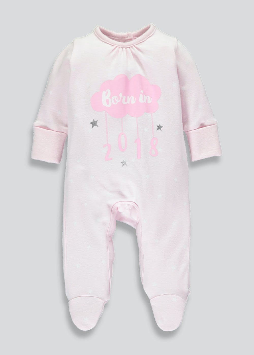 948244e4f24c Girls Born in 2018 Sleepsuit (Tiny Baby-9mths) – Pastel Pink – Matalan