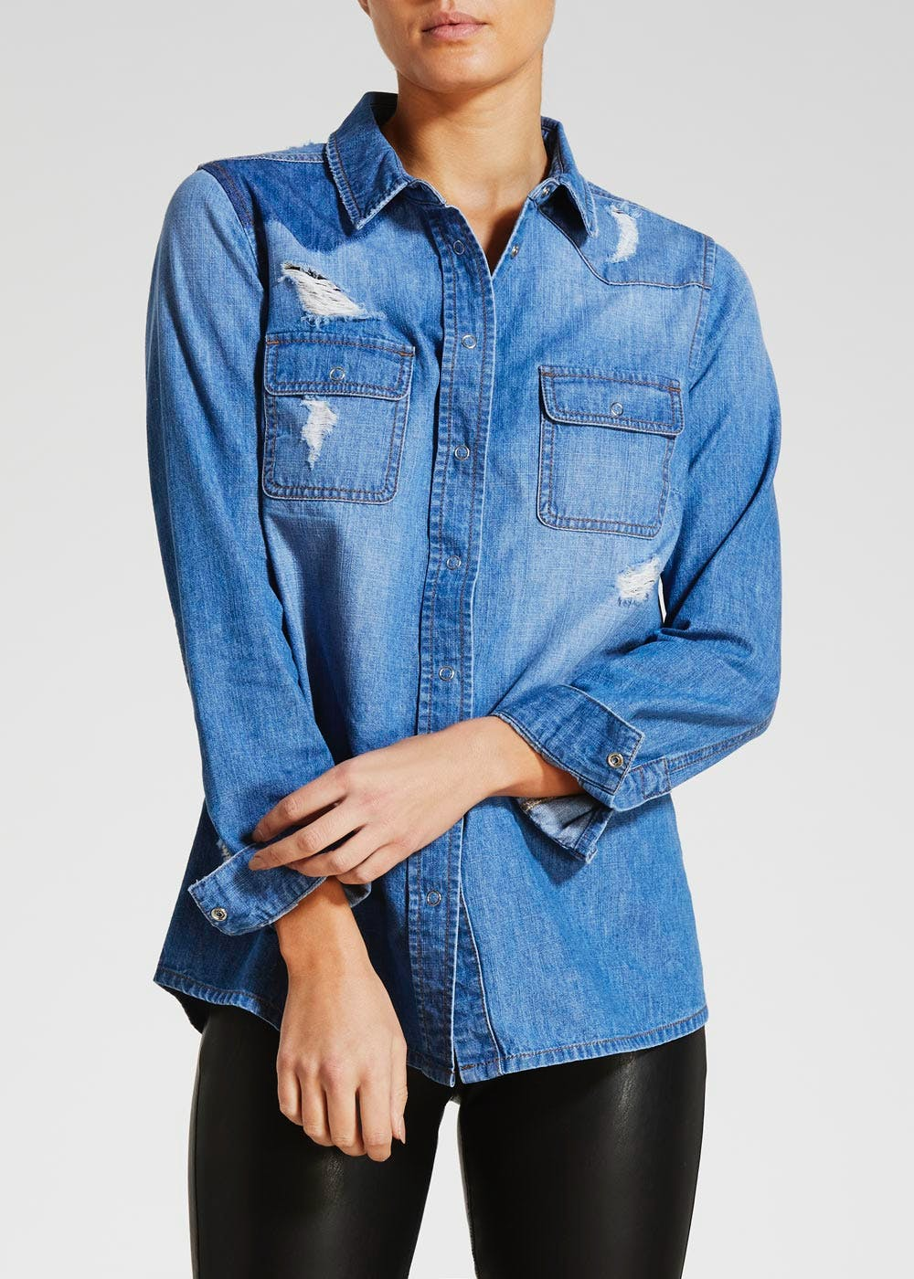 Distressed Denim Shirt – Midwash – Matalan