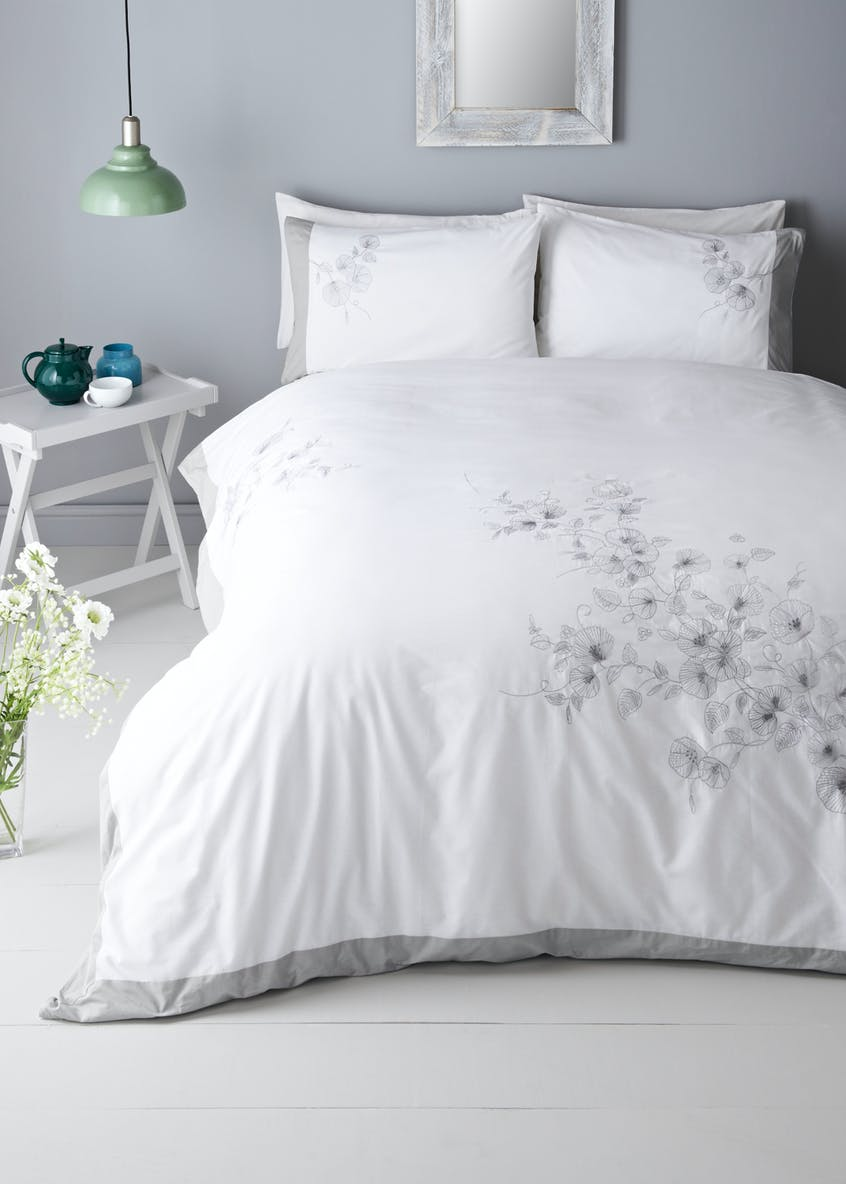 Embroidered Floral Duvet Cover