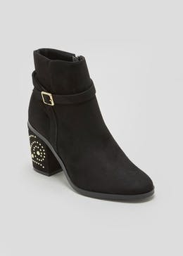 Pin Stud Block Heel Ankle Boots