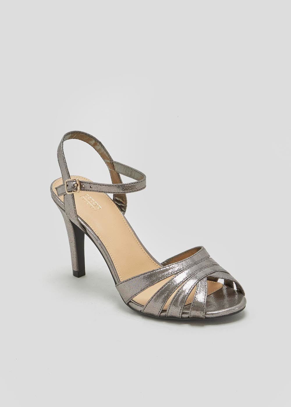 a301b386fdc Wide Fit Caged Heels – Silver – Matalan
