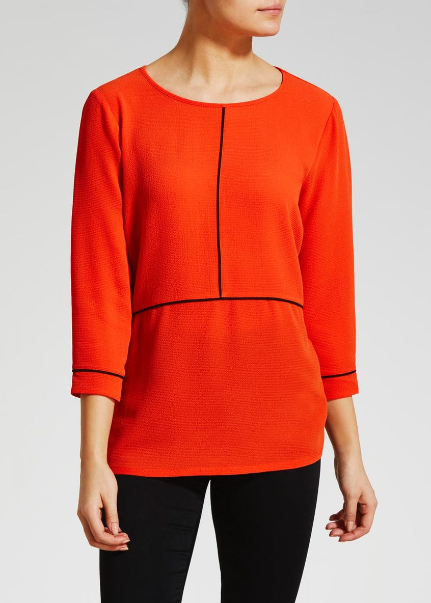 Piped Woven Front Top
