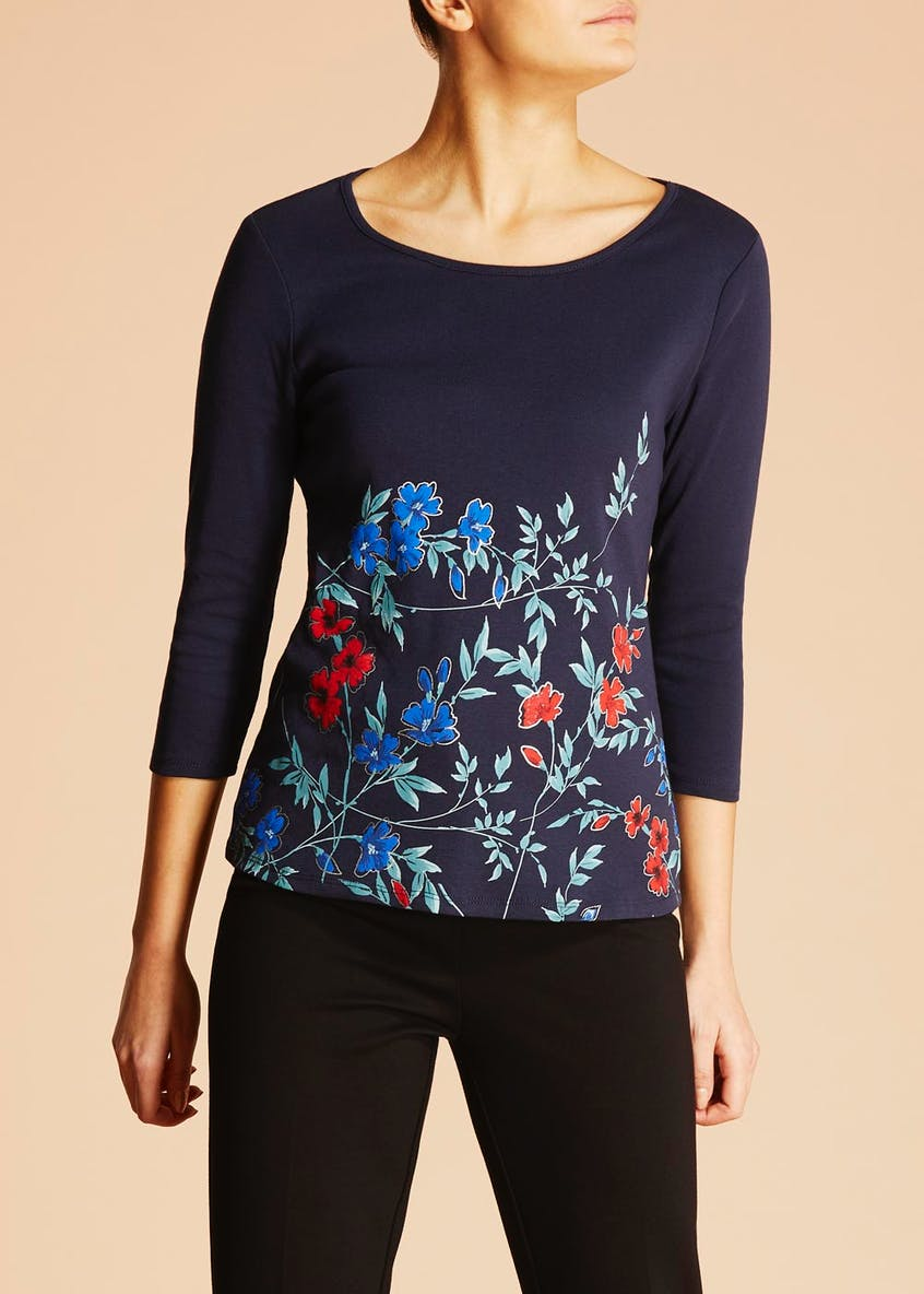 Floral Ribbed Top