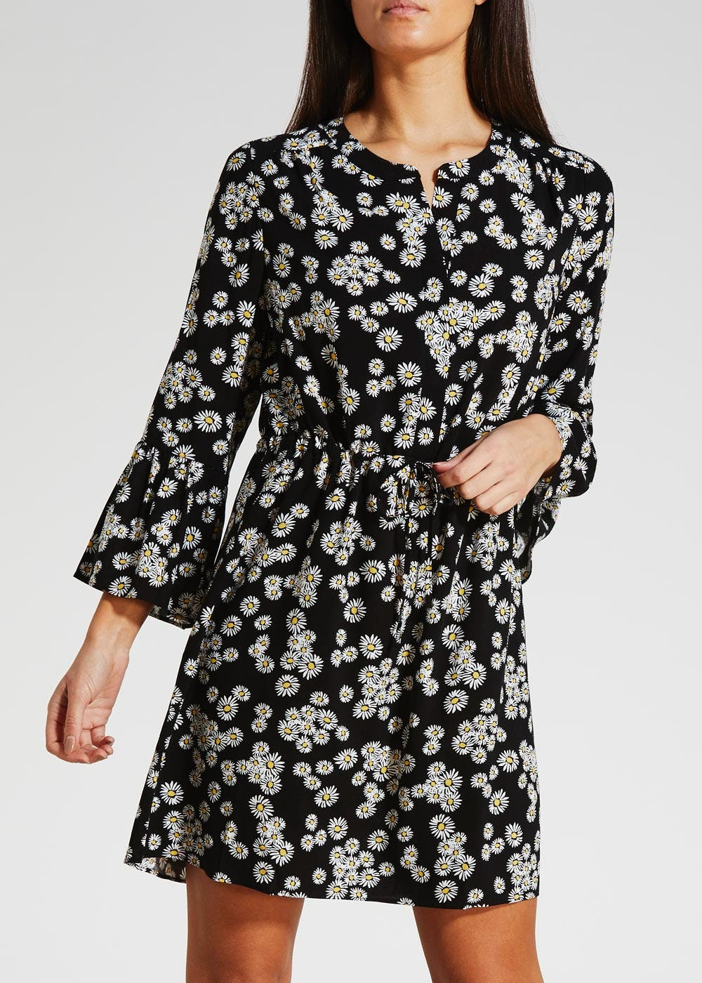 Viscose Daisy Bell Sleeve Shirt Dress – Black – Matalan