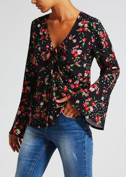 Floral Ruched Bell Sleeve Blouse