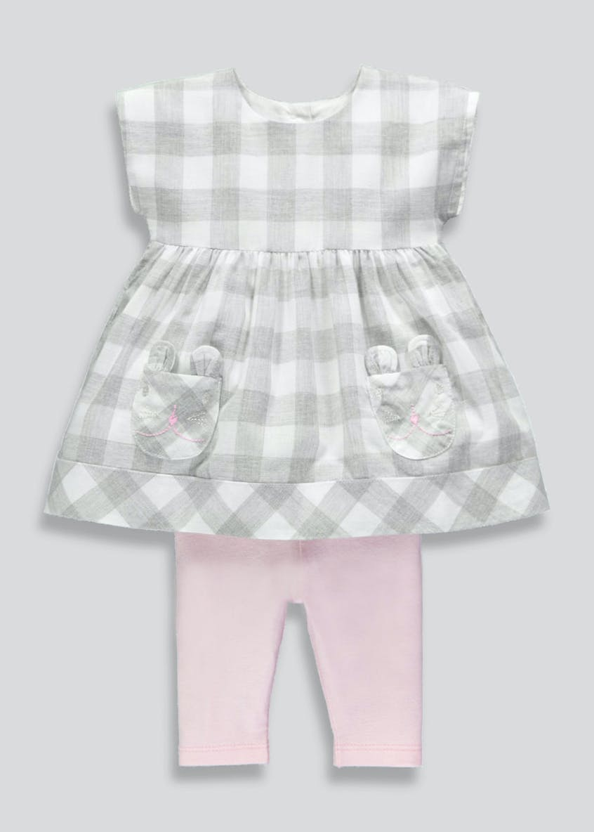 Girls Bunny Check Dress & Leggings Set (Newborn-18mths)