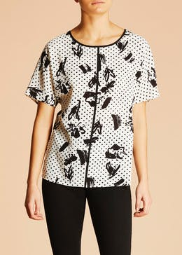Soon Floral Spot Piped Top