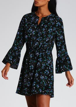 Viscose Floral Bell Sleeve Shirt Dress