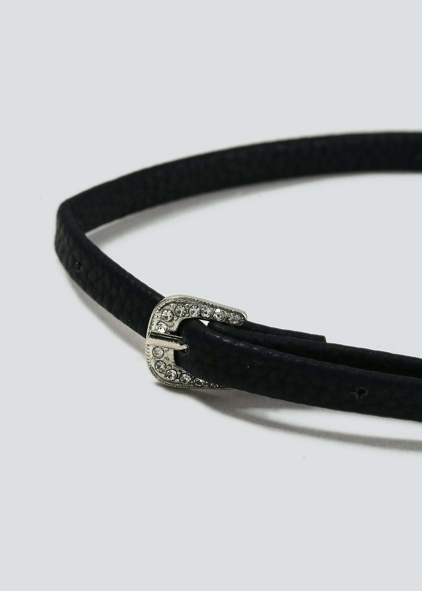Black Buckle Sparkle Stone Choker