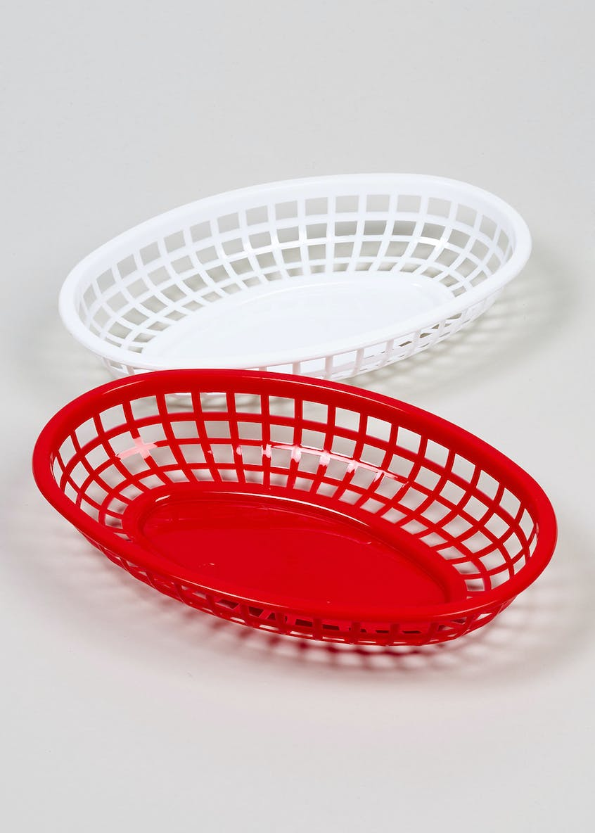 2 Pack Plastic Serving Baskets (24cm x 16cm x 5cm)