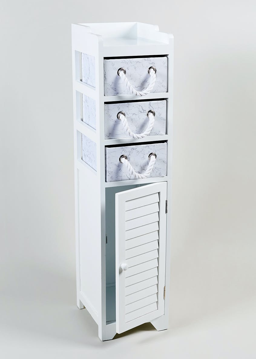 Marble Effect Wooden Storage Tower (103cm x 29cm x 24cm)