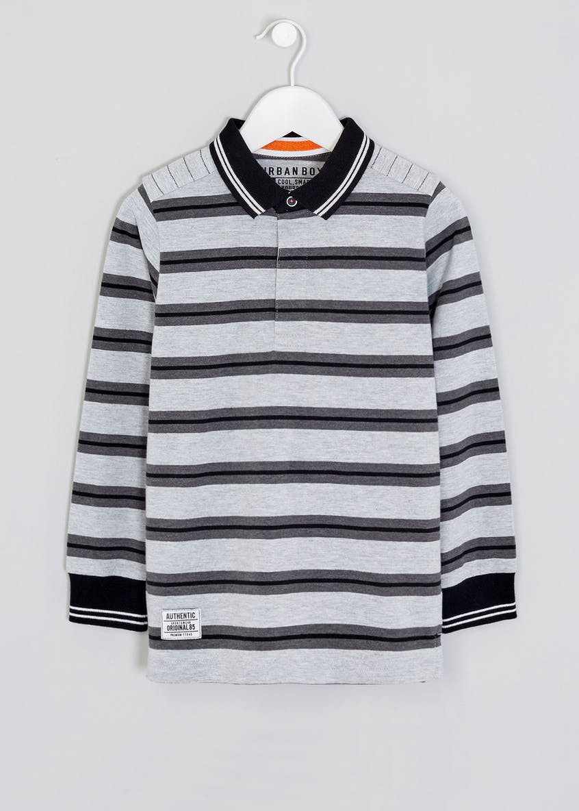 Boys Stripe Rugby Polo Shirt (4-13yrs)