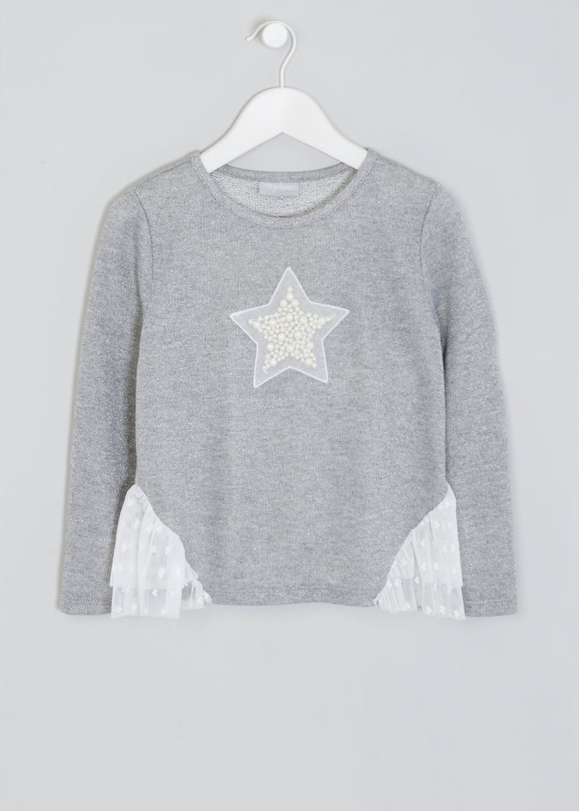 Girls Pearl Appliqué Snit Top (4-13yrs)