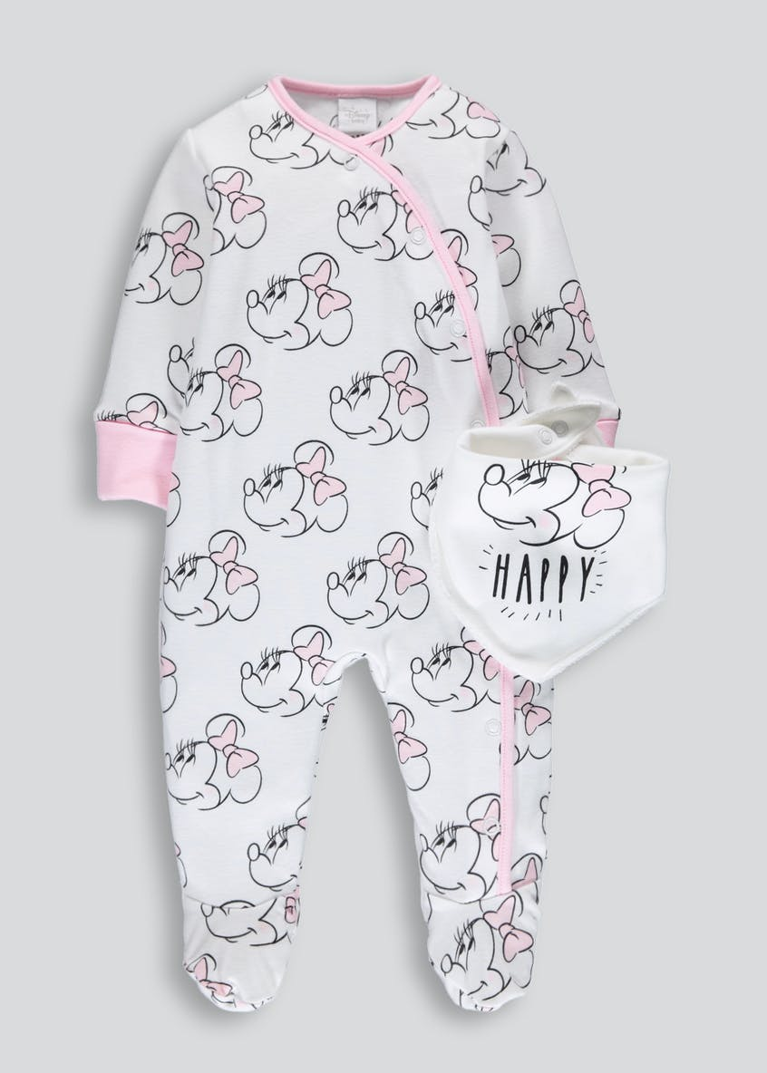 Girls Minnie Mouse Sleepsuit & Bib Set (Newborn-9mths)