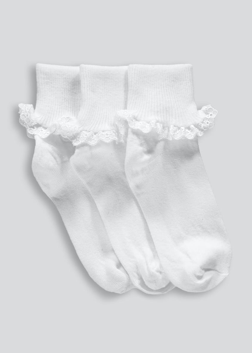 Girls 3 Pack Lace Ankle Socks (Younger Kids 6 - Older Kids 3.5)