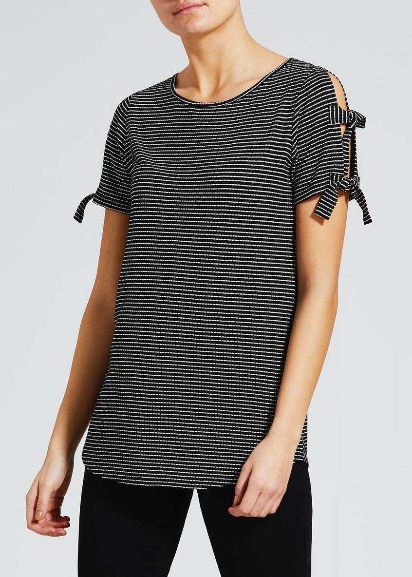 Stripe Cold Shoulder Tie T-Shirt