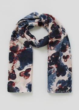 Blurred Floral Woven Scarf