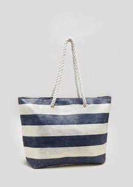 Metallic Stripe Rope Beach Bag