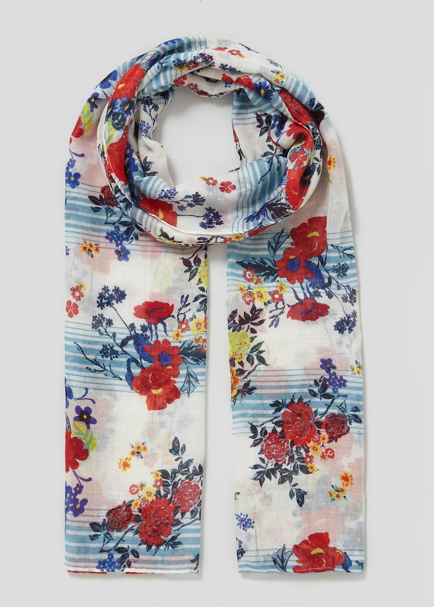 Floral Stripe Woven Scarf
