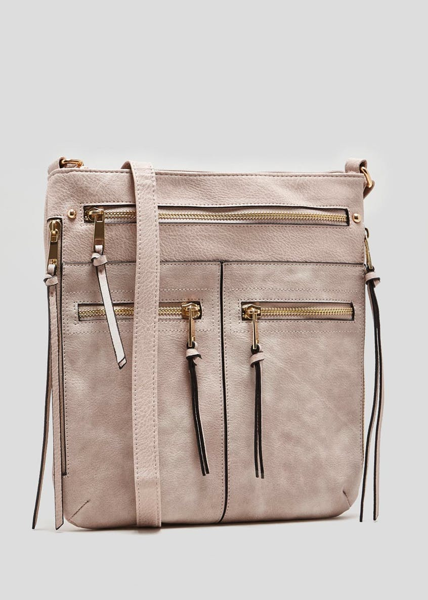 Multiple Zip Messenger Bag