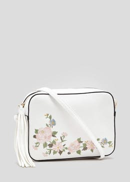 Floral Embroidered Cross-Body Bag