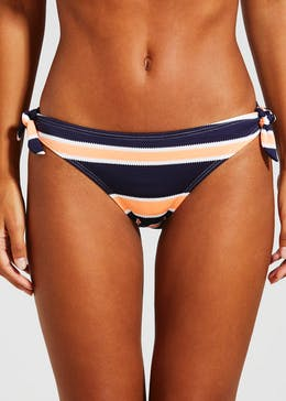 Textured Stripe Bow Bikini Bottoms