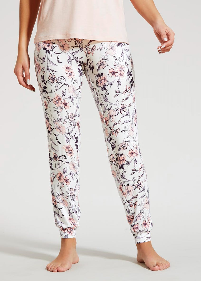Floral Viscose Cuffed Pyjama Bottoms